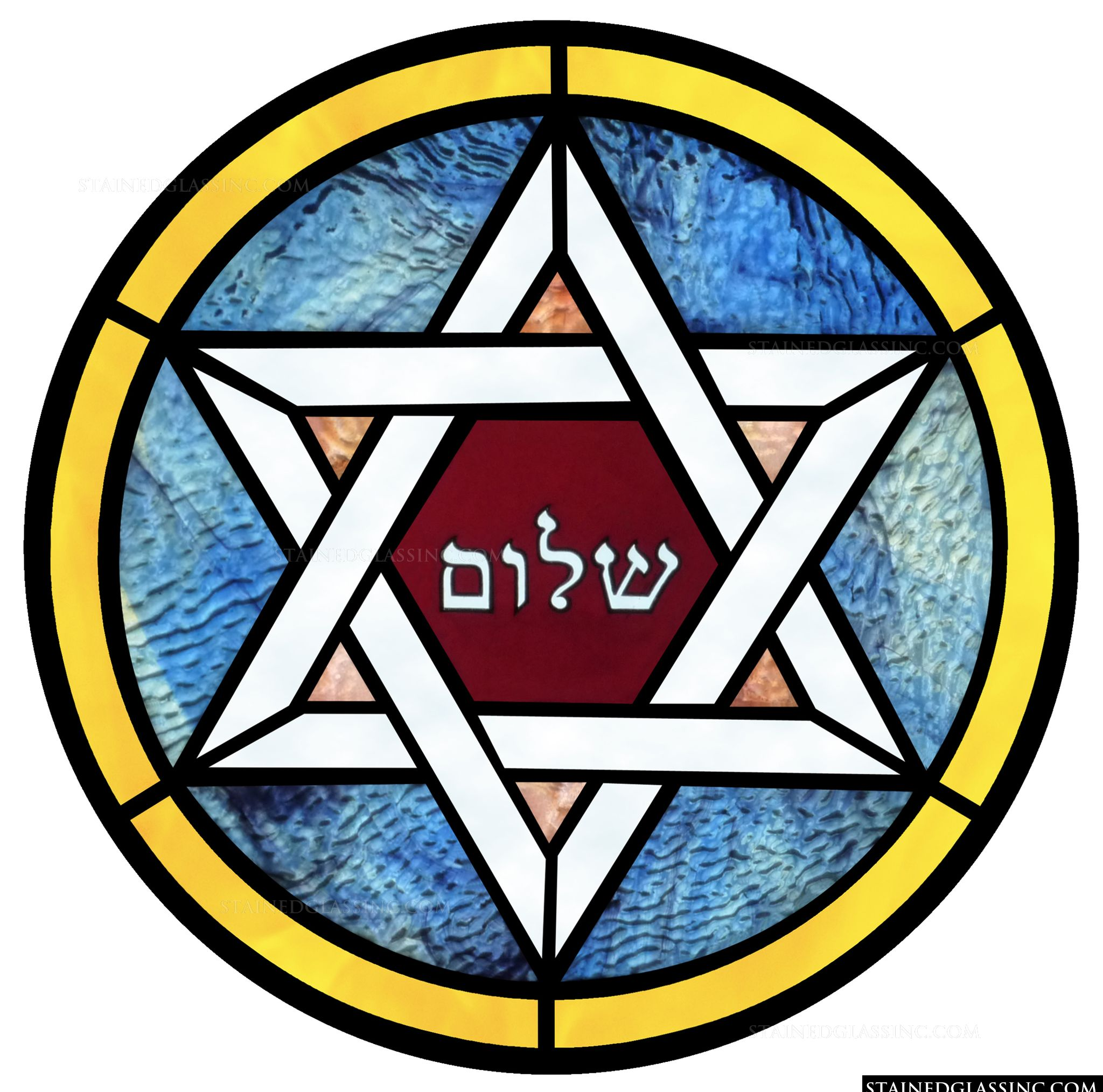 Shalom Star Of David Religious Stained Glass Window