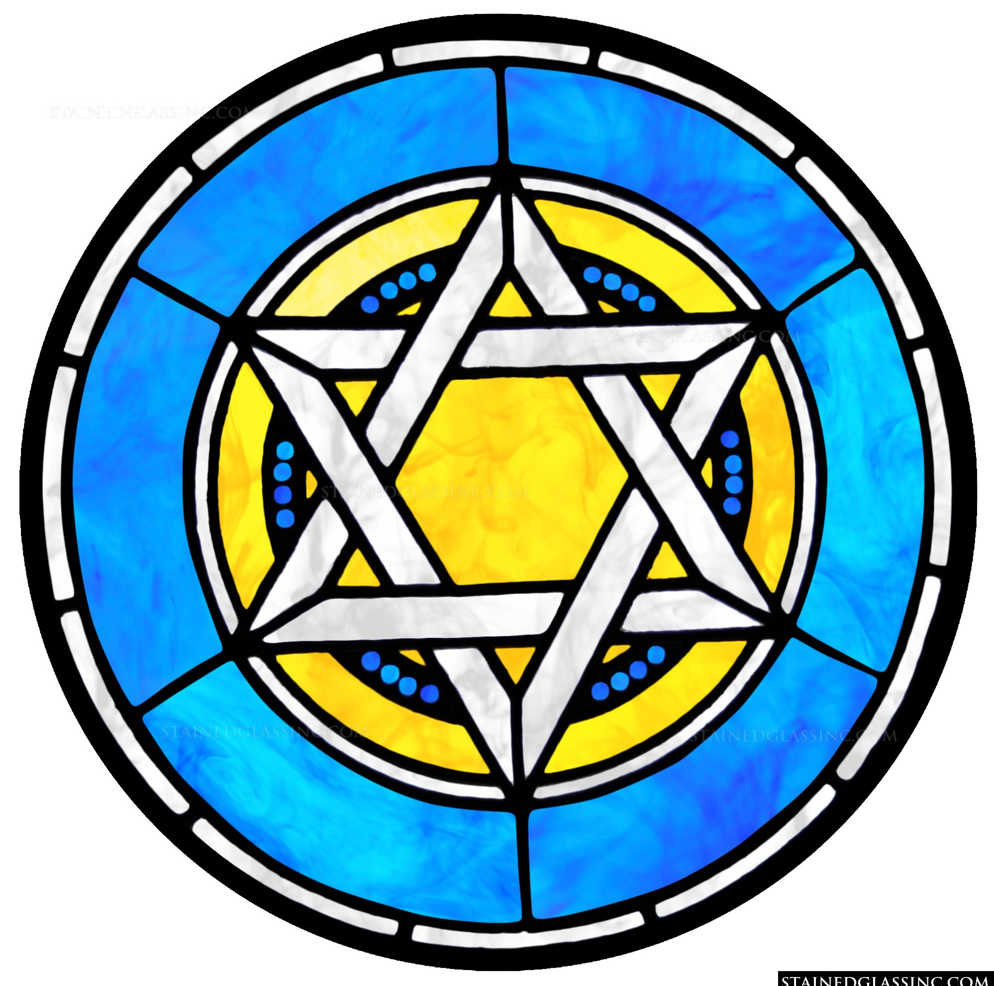 Blue And Yellow Star Of David Religious Stained Glass Window