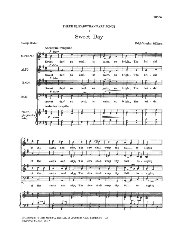 Vaughan Williams, Ralph: Sweet Day, A. SATB