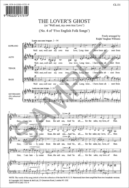 Vaughan Williams, Ralph: Lover's Ghost, The. SATB