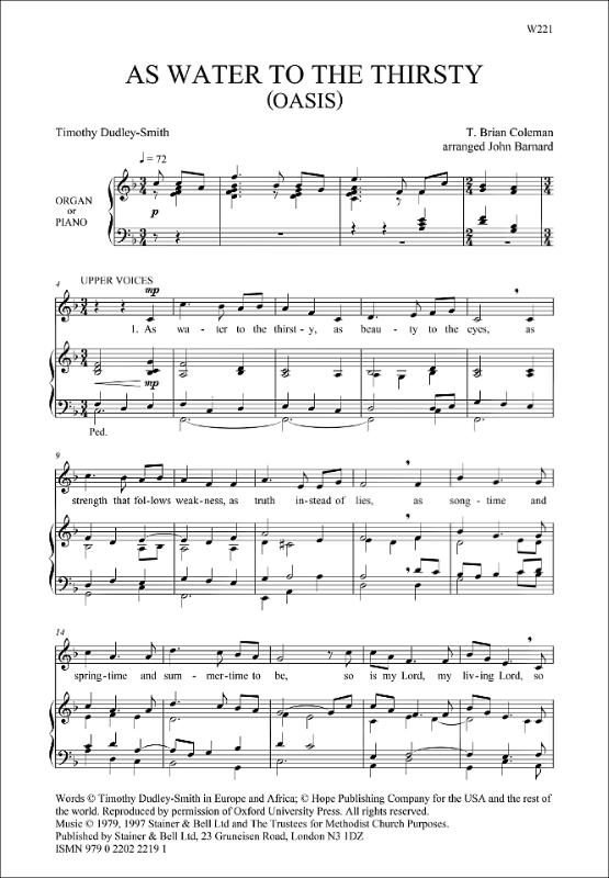Coleman, T Brian: As Water To The Thirsty. SATB And Organ Or Piano