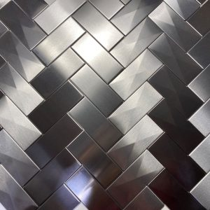 2.5 X 6 Herringbone With 3d Prism Stainless Steel Tile Project S4