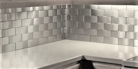 2.5x6 Accent Woven Stainless Steel Backsplash Project L5 2