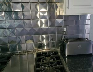 4x4 3d Stainless Steel Backsplash Project J15
