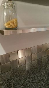 Square Stainless Steel Backsplash And Open Kitchen Shelf More Modern Ideas At Www.stainlesssteeltile.com