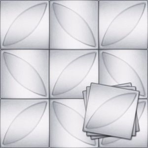 "4"" x 4"" Accent Leaf 3D Stainless Steel Tile"