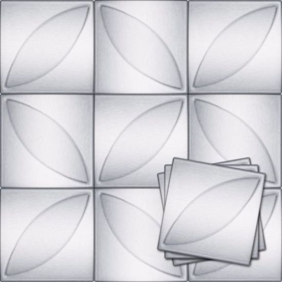 """4"""" x 4"""" Accent Leaf 3D Stainless Steel Tile"""