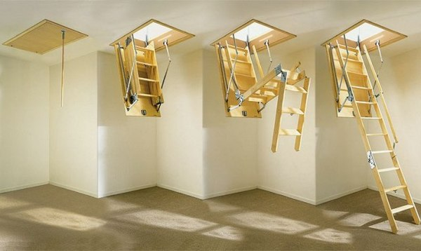 Folding structure in the attic