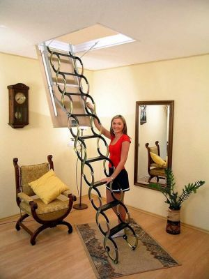 aesthetic folding ladder made of metal