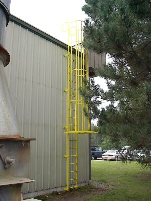 building ladder with cage