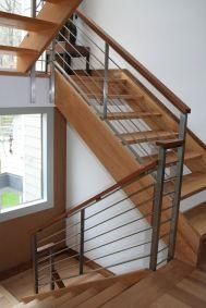 modern wood stair railing