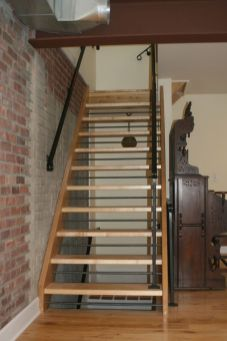 open wooden staircases