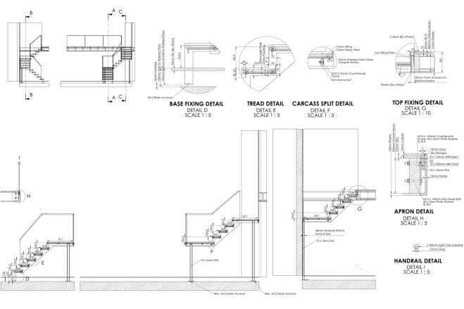 steel stairs design details