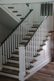 white wood stair railing