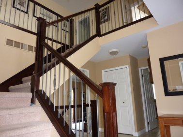 wood stairs and railings