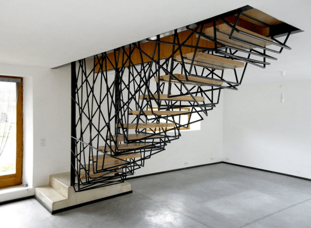metal stairs with spider web design_24
