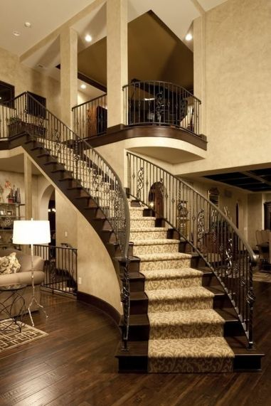 pictures of wooden stairs with carpet runner_4