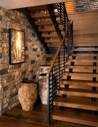 rustic wooden stairs design_79