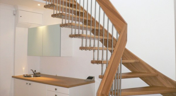 Staircase for the access to the attic or mansard