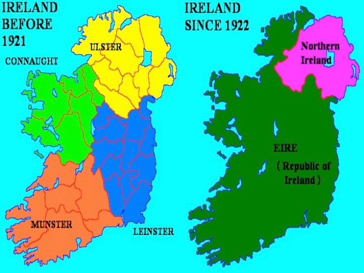 Map Of N Ireland With Counties.1922 The Six Counties Of Northern Ireland Opt Out Of The Free