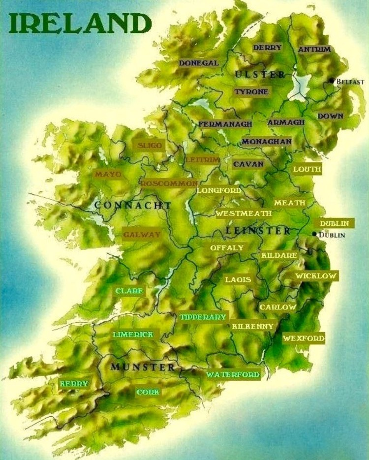 Map Of Ireland With Counties And Provinces.How And When The 32 Counties Of Ireland Formed Stair Na Heireann