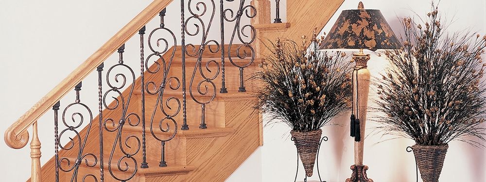 Stair Parts Balusters Newels Handrail Cable Rail | Wood Handrail With Iron Balusters | Ash Gray | Ole Iron | Upstairs | Wrought Iron | Low Profile