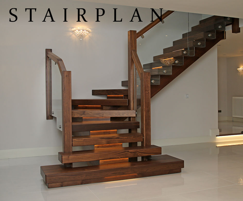 Walnut Stair Handrail Black Railing