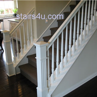 Bottom Of White Stairs With Brown Carpet   White Stairs With Carpet   Chocolate Brown   Oak   Solid Colour   Colour   Landing