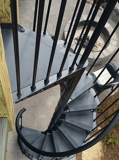 Homepage Stair Solution | Round Stairs Railing Design | Metal | Silver | Loft | Stainless Steel | Brown
