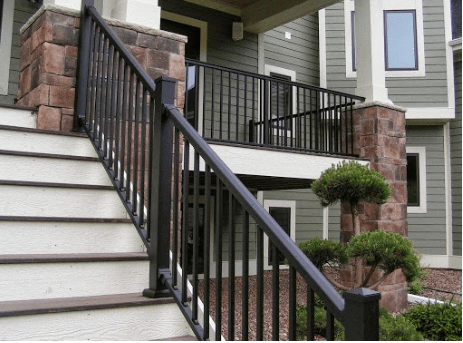 Exterior Stair Railing Equals Beauty And Functionality | Outside Stair Railing Installation | Rail | Simple | Staircase | Back Porch | Sunroom
