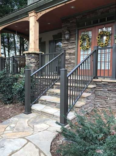 Homepage Stair Solution | Metal Handrails For Stairs Exterior | Porch | Concrete Steps | Wrought Iron Railings | Outdoor Stair | Banister
