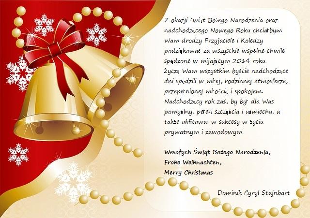 Wesołych Świąt Bożego Narodzenia iSzczęśliwego Nowego Roku