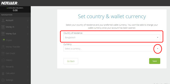 Neteller - Select your currency & wallet currency Screenshot