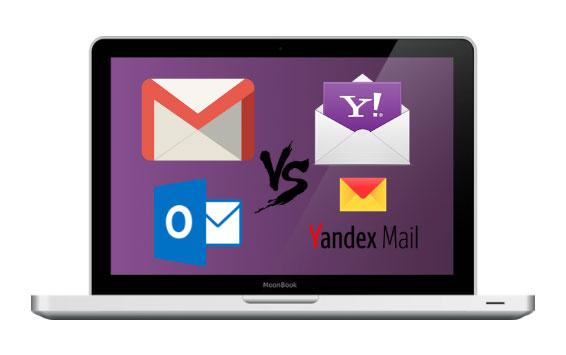 Gmail vs Yahoo Mail vs Outlook vs Yandex Mail