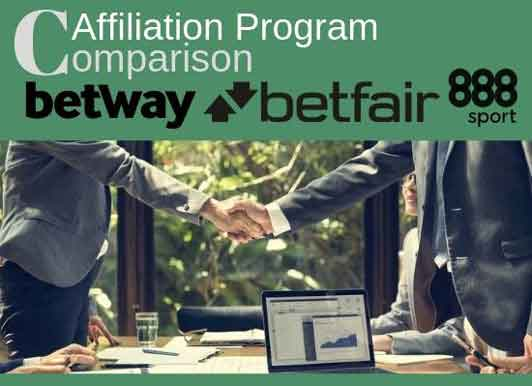 Betway vs Betfair vs 888sport, key difference and comparison of their affiliation program