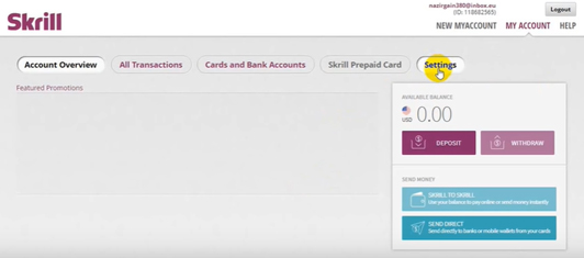 Click settings of a newliy opend Skrill account