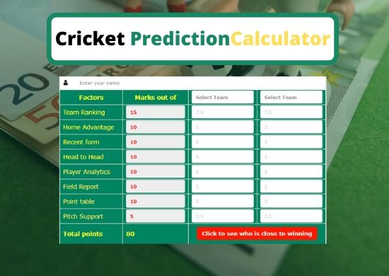 Cricket Prediction Calculator Introducing by Stakebd.com