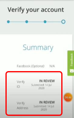 Your account in review to verify