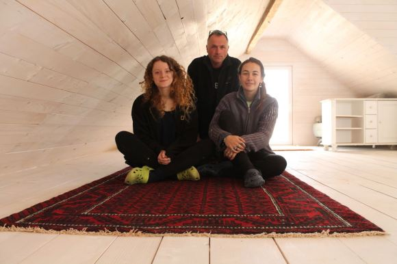 Isobel, Shannon and Greg on the flying carpet, doing fairytale things to the attic