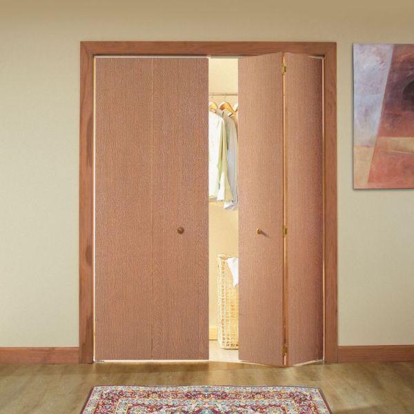 Hardwood Veneer Flush Interior Door bifold on closet