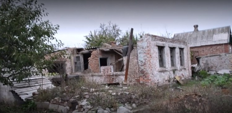 The ruins of Oksana's house