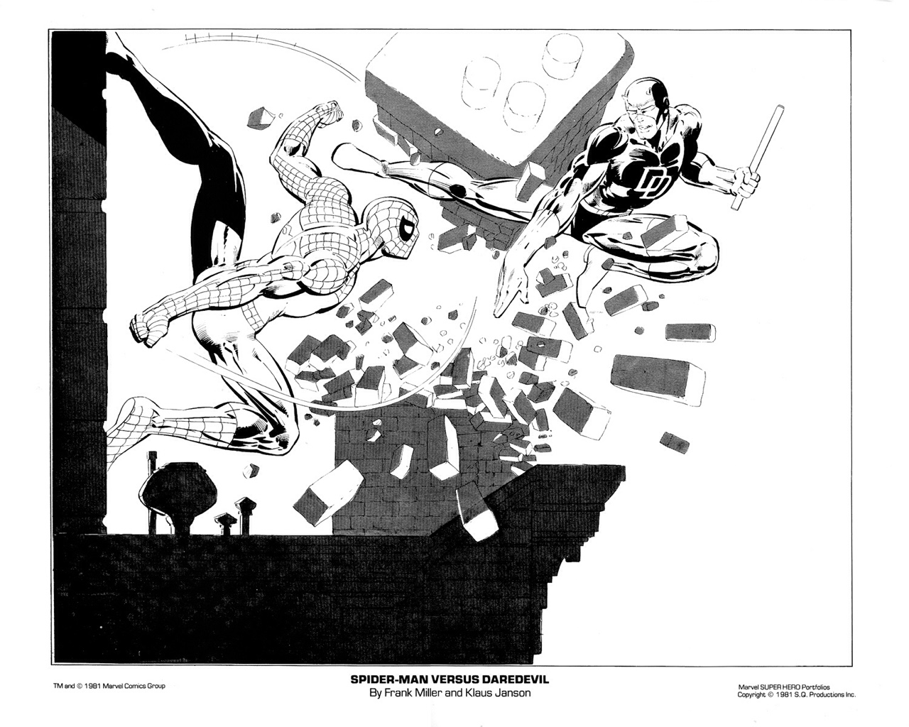 The Spider Man Daredevil By Frank Miller And Klaus Janson Was One Of Plates In Marvel Portfolio Set