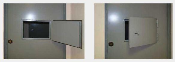 Дверь стальная с оком для выдачи