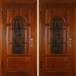 двери металлические дерево с ковкой