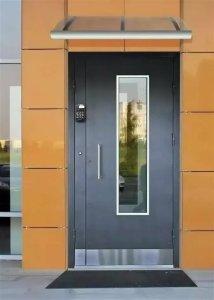 металлические двери с домофоном со стеклопакетом заказать