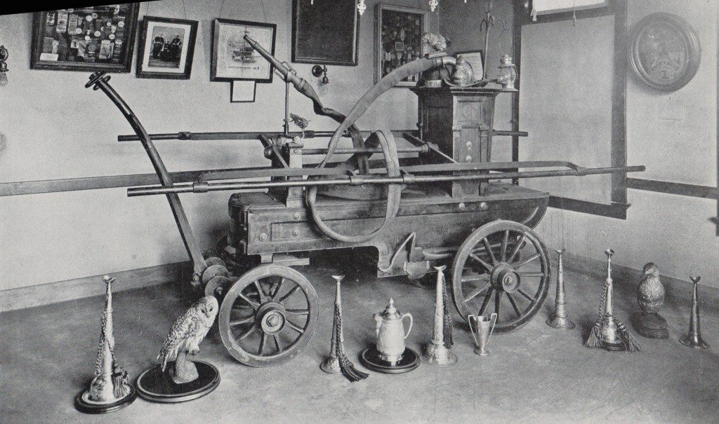 """The Rippowam as it sat in the """"relic"""" room of the Central Fire Station"""