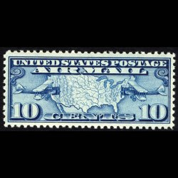 1926 U.S. Airmail Stamp #C7 - 10 cent Map and Planes - image from arago.si.edi and is representative only