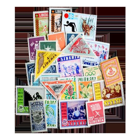25 Different Liberia Postage Stamps