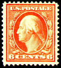 6¢ Washington - red orange