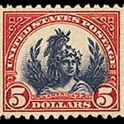 "$5 ""America"" (1923) - carmine & blue"